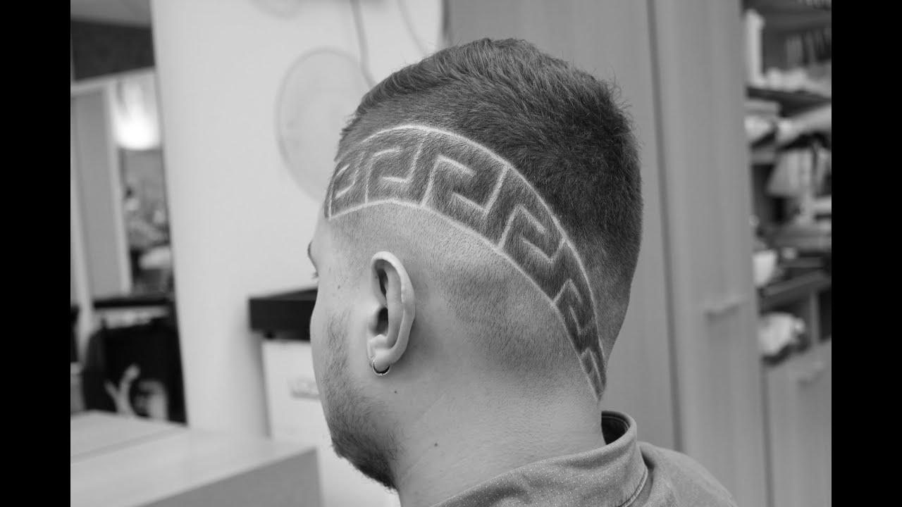 Стрижки мужские с рисунками на голове
