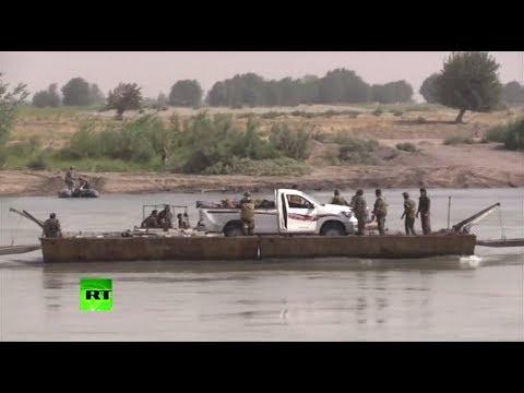 Видео форсирования реки Евфрат сирийскими военными в районе Дейр эз-Зора
