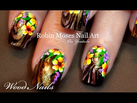 Wood Nail Art with Flowers
