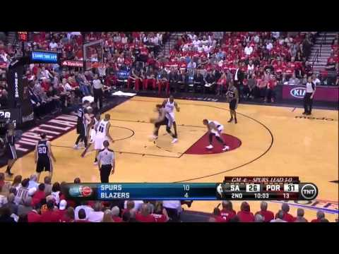 NBA, playoff 2014, Spurs vs. Trail Blazers, Round 2, Game 4, Move 16, Marco Belinelli, layup