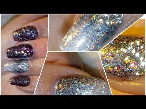 Holographic glitter&holographic foil gel nails