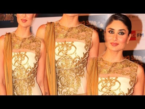 Sexy Kareena Kapoor Golden Hot Look @ 4th Big Star Entertainment Awards 2013