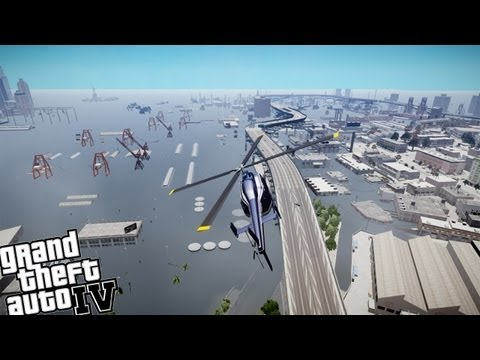 GTA IV Tsunami Mod+Carmageddon Mod - Part 2 - Made it to The Helicopter