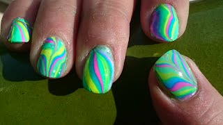 Nagels marmeren (nagelstyling, Water Marble Nail)