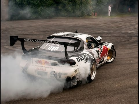 Mad Mike Mazda RX7 Drifts & Huge Burnout & Sounds