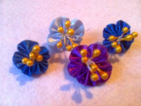Цветы из атласных лент незабудки 8