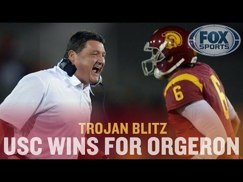 USC beats Arizona, Ed Orgeron 1-0 as head coach, Silas Redd returns, Nelson Agholor shines