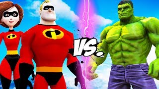 The Hulk vs Mr. Incredible & Elastigirl - Epic Battle