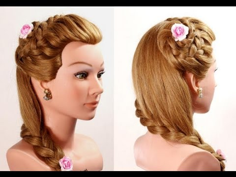 Braided flower hairstyle for long hair. Romantic hairstyles. - YouTube