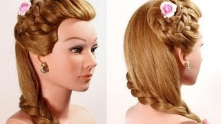 Braided flower hairstyle for long hair. Romantic hairstyles.