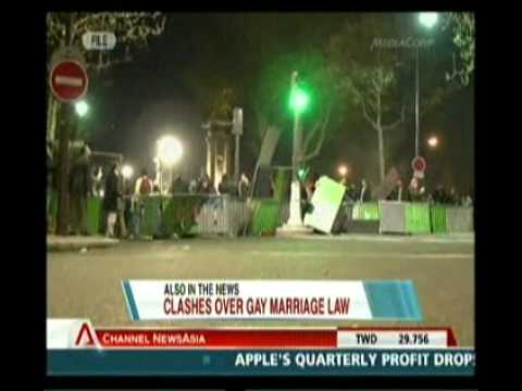 Violent clashes in France after gay marriage legalised