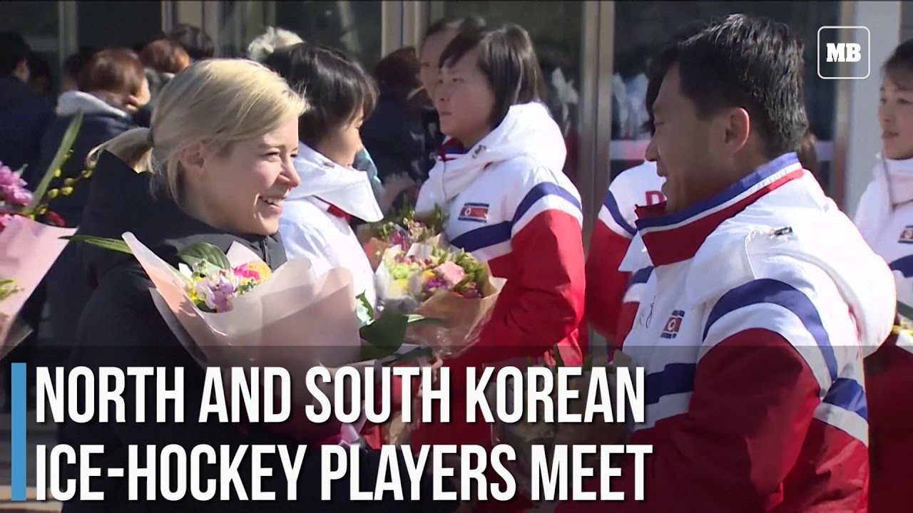 North and South Korean ice hockey players meet