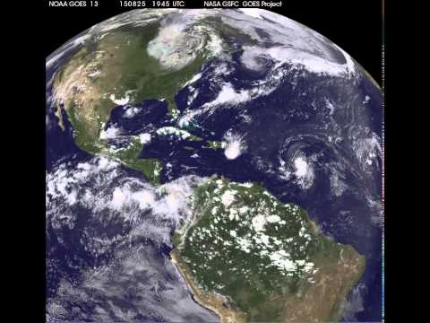 Satellite Movie Shows Tropical Storm Erika Approaching Puerto Rico