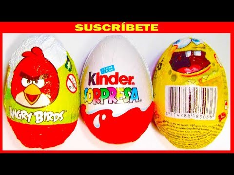 3 HUEVOS SORPRESA. ANGRY BIRDS. BOB ESPONJA Y MAGIC KINDER NATOONS COLECCIÓN 2013. KINDER SURPRISE