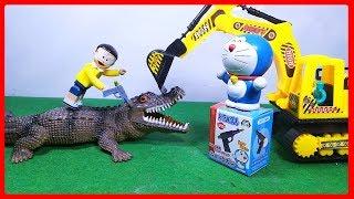 Đồ chơi Doremon hoạt hình #2 - Nobita gặp cá sấu trong quả trứng bất ngờ - Stop motion toys