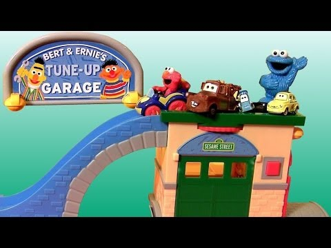 Sesame Street Tune-up Garage Shop Race Cars Cookie Monster Elmo Mater Luigi Guido By Disneycollector video