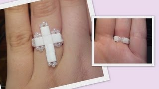 Love of religion beaded Ring Beading Tutorial by HoneyBeads1 (Photo tutorial with tila beads)