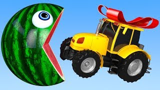 Learn Colors with PACMAN and Farm WaterMelon Tractor Duck Street Vehicle for Kids Children