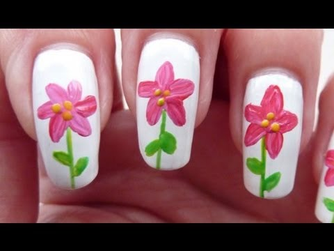 Style Flower Nail Art Tutorial Using Acrylic Paint HD Video - YouTube