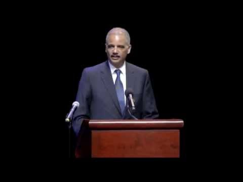 Eric Holder speaks at Jewish Community Campus Service for Shooting Victims