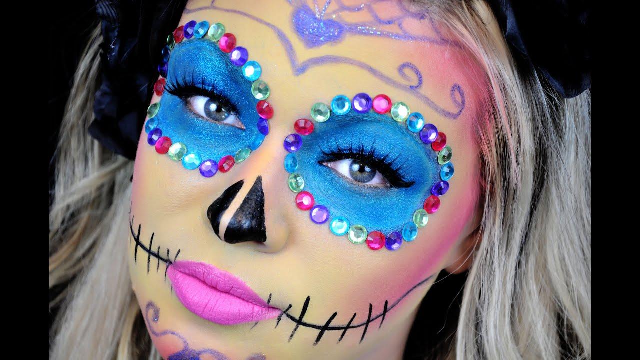 colorful sugar skull makeup youtube