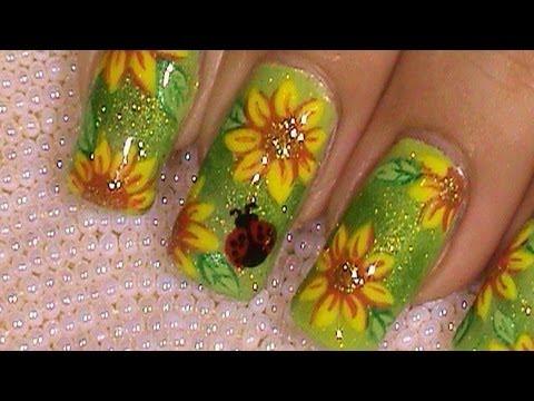 Sunflower Ladybug Summer Nail