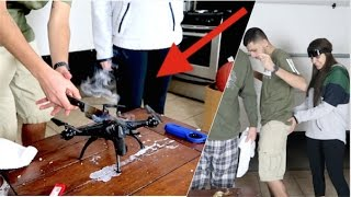 1000 degree glowing knife vs CAMERA DRONE! (DID NOT END WELL)