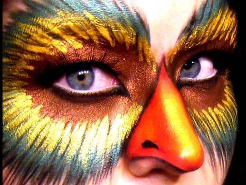 Halloween Makeup Mysterious Bird Lady - YouTube