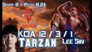 GRF Tarzan LEE SIN vs NIDALEE Jungle - Patch 8.24 KR Ranked