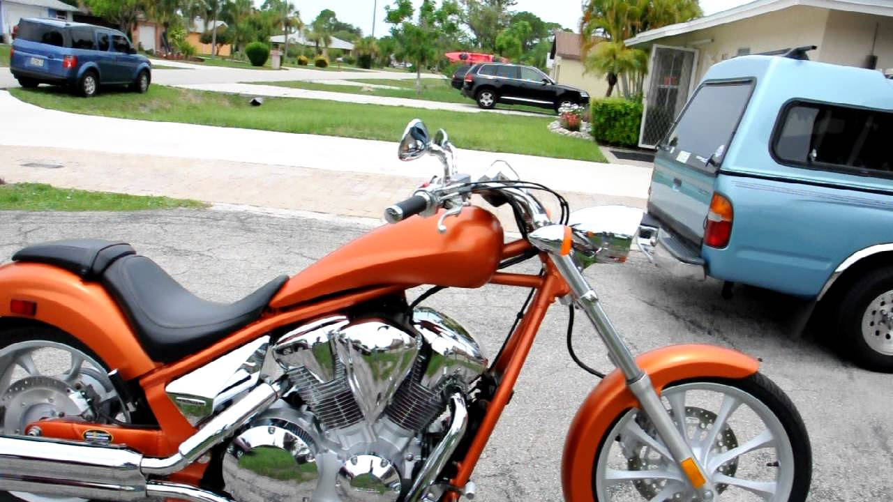 2011 Honda Fury Orange Chopper Motorcycle From Honda - YouTube