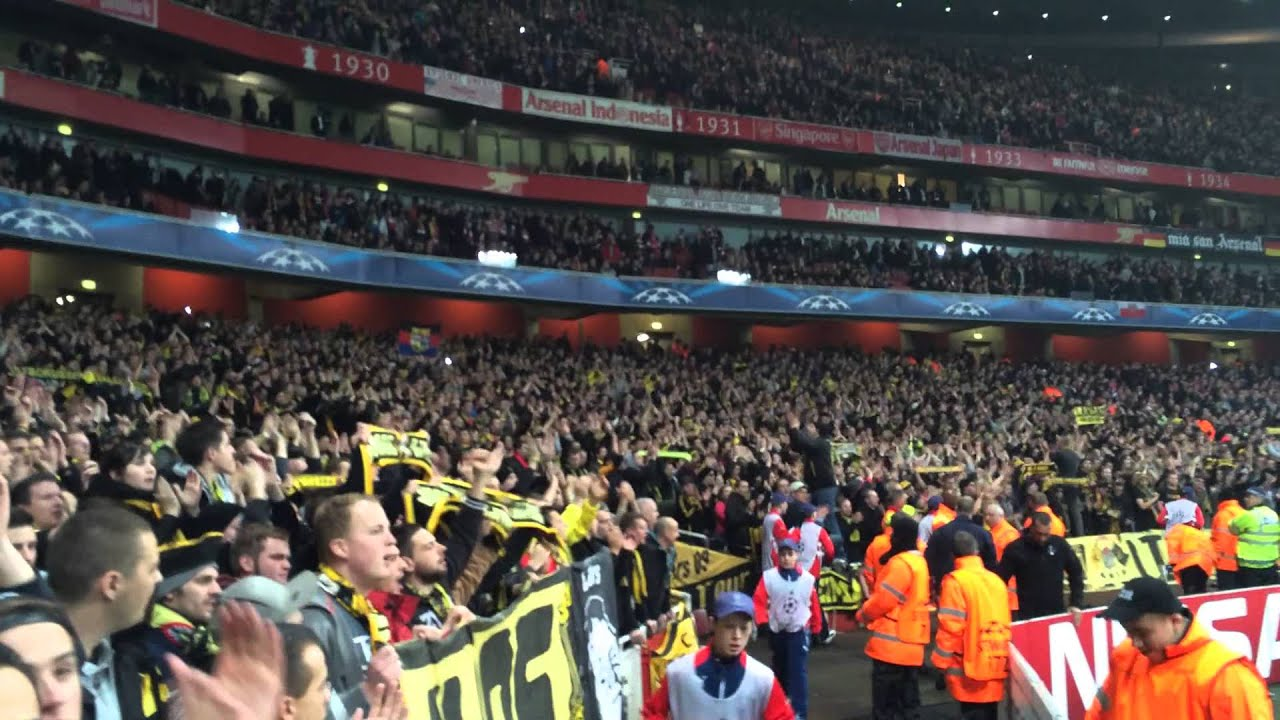 Dortmund Fans at Arsenal Arsenal vs Borussia Dortmund