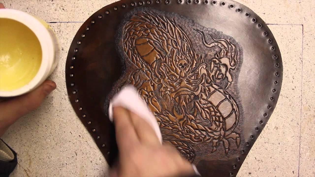 Tooled Leather Motorcycle Seat Part 4 Dyeing