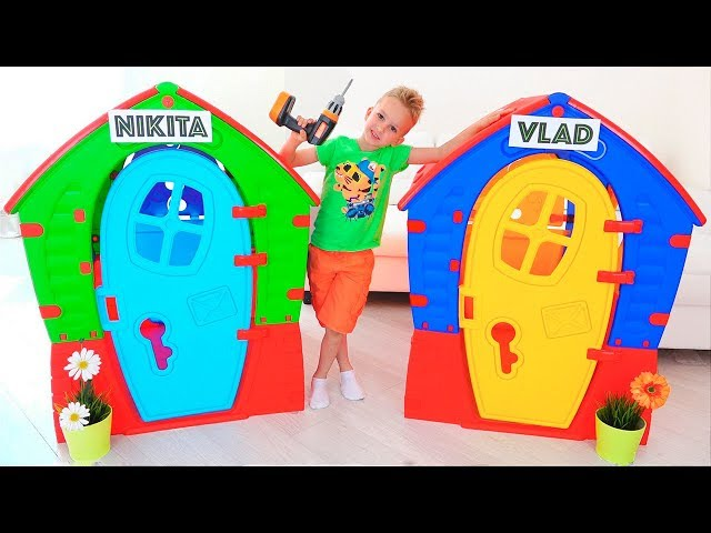 Nikita Pretend Play with Balls  Kids ride on toy cars and play with Mom
