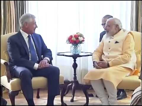 PM Narendra Modi meets US Secretary of Defense Chuck Hagel