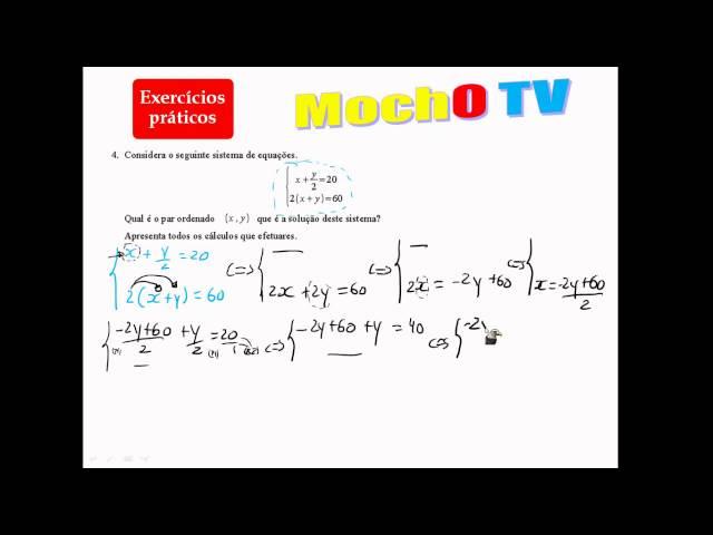Sistema de duas equações do 1º Grau Resolução analitica 8º Ano