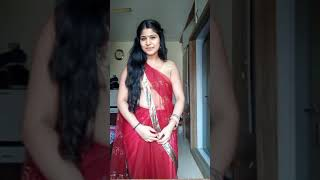 Aunty red saree with romantic walking