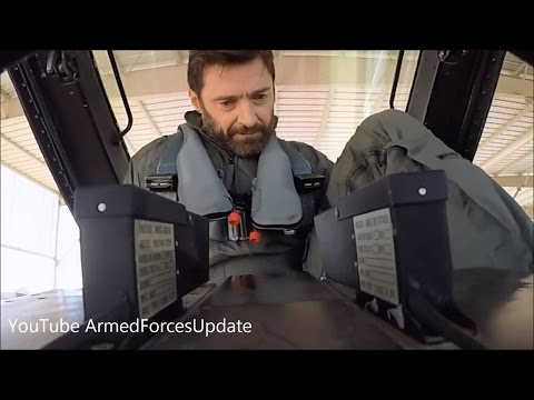 ACTION MOVIE MAN !!! Hugh Jackman flying in US Air Force F-16