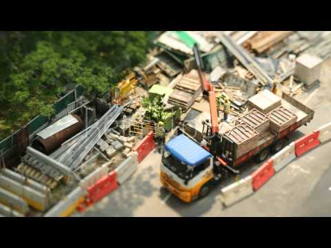 0 Tilt Shift   Singapore   Construction Lift Dolly Shot   Stock Footage