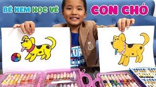 Bé Kem học vẽ con chó vàng || Kids drawing a dog
