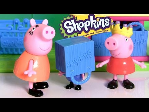 Peppa Pig Shopping For Frozen Shopkins At The Supermarket Mini Mart With Princess Anna Elsa video