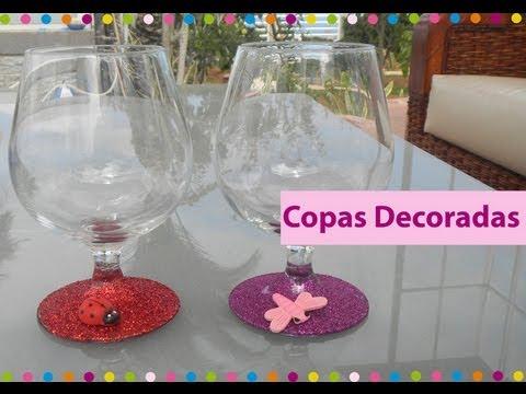 Copas purpurina para brindar o decorar youtube - Copas decoradas con velas ...
