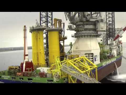 Aalborg Havn udskibning af havvindmøllefundamenter fra Bladt Industries