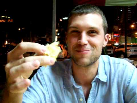 Ian's first taste of durian