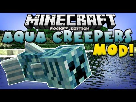 0.10.5 AQUA CREEPER MOD Mutant Creeper Fish Minecraft Pocket Edition