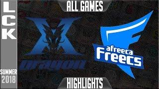 KZ vs AFS Highlights ALL GAMES | LCK Playoffs R1 Summer 2018 | King-Zone DragonX vs Afreeca Freecs