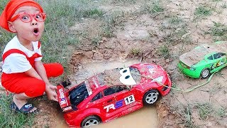 Car for kids Power wheels pull Disney Lightning Mcqueen car wash with Dave Mario and brother