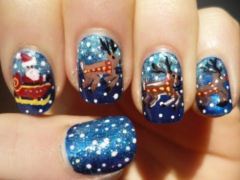 Santa Sleigh and Reindeer Nail Art Christmas Tutorial