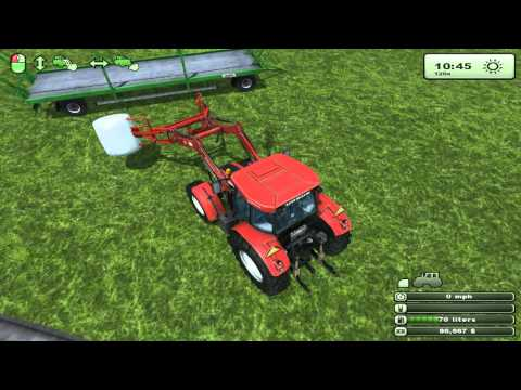 Farm sim SAT Wraping bales with the ursus wraper