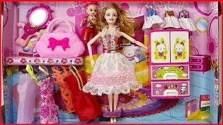 Đồ chơi trẻ em BÚP BÊ CHỊ EM, 7 váy đầm, 1 tủ quần áo, túi xách - Dolls toys kids (Chim Xinh)