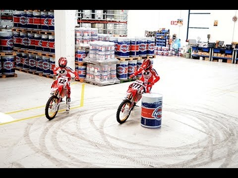 Honda World Motocross skids and wheelies - Nils 2013 factory visit